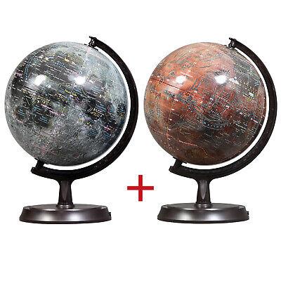 "Mapsoft Explorer Moon/Mars 2 Globe Set, 24cm/9.5"", Lunar Globe, 2MR-24"
