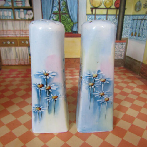 Antique Early 1900s Blue Edwardian Floral Salt Shakers Porcelain Painted Bavaria