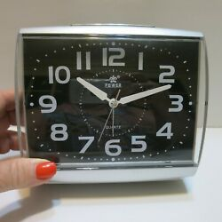 Power Brand Large Analog Silent Non-Ticking Quartz Alarm Clock Battery Operated