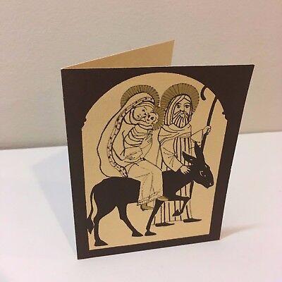 Vtg Christmas Card Holy Family Baby Jesus Donkey Flight to Egypt Art Print  Baby Cards To Print