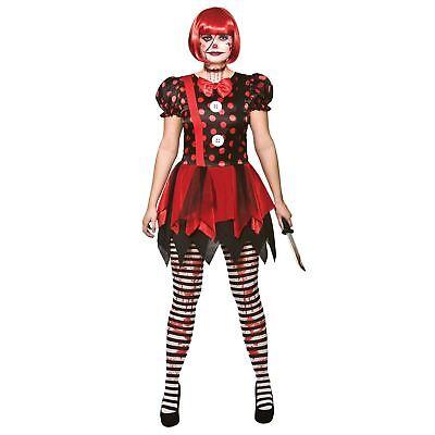 Evil Carnival Halloween (Ladies Horror Evil Clown Circus Jester Halloween Fancy Dress Womens)