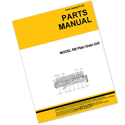 Parts Manual For John Deere Van Brunt Rb Plain Grain Drill Planter Catalog Seed