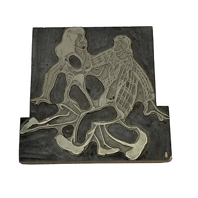 Vintage Printing Letterpress Printers Block Man Woman Dancing Together