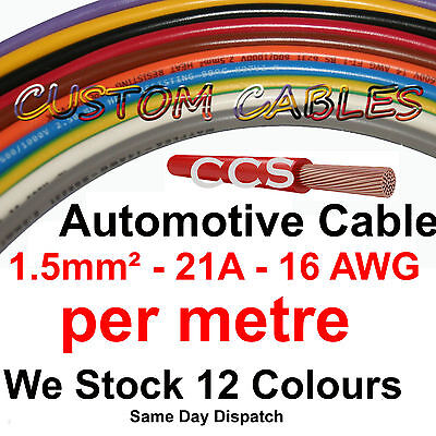 1m Red AUTO CABLE, 21 AMP CAR WIRING LOOM WIRE, 21A AUTOMOTIVE Kit