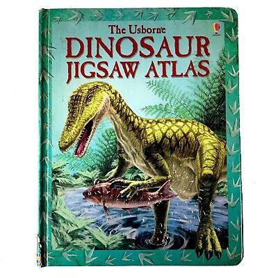 Usborne DINOSAUR JIGSAW ATLAS 6 Continents Puzzle Book w/ Discovered Dinosaurs