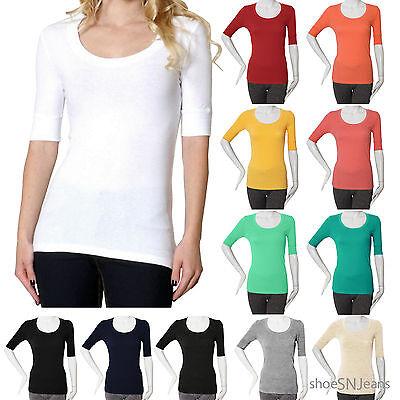 NEW Women Active Short Elbow Sleeve Scoop Neck Top Plain Basic Tee Shirt USA