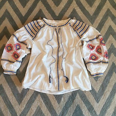 Xl New Anthropologie Embroidered Womens White Cotton Peasant Blouse Top  Large