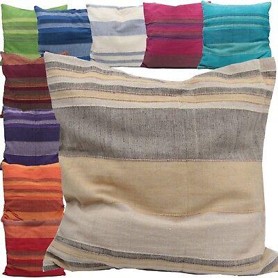 Gestreiften Stoff Kissen (Kissenhülle Kissen 40 x 40 cm handgewebt Indien Kissenbezug Baumwolle gestreift)