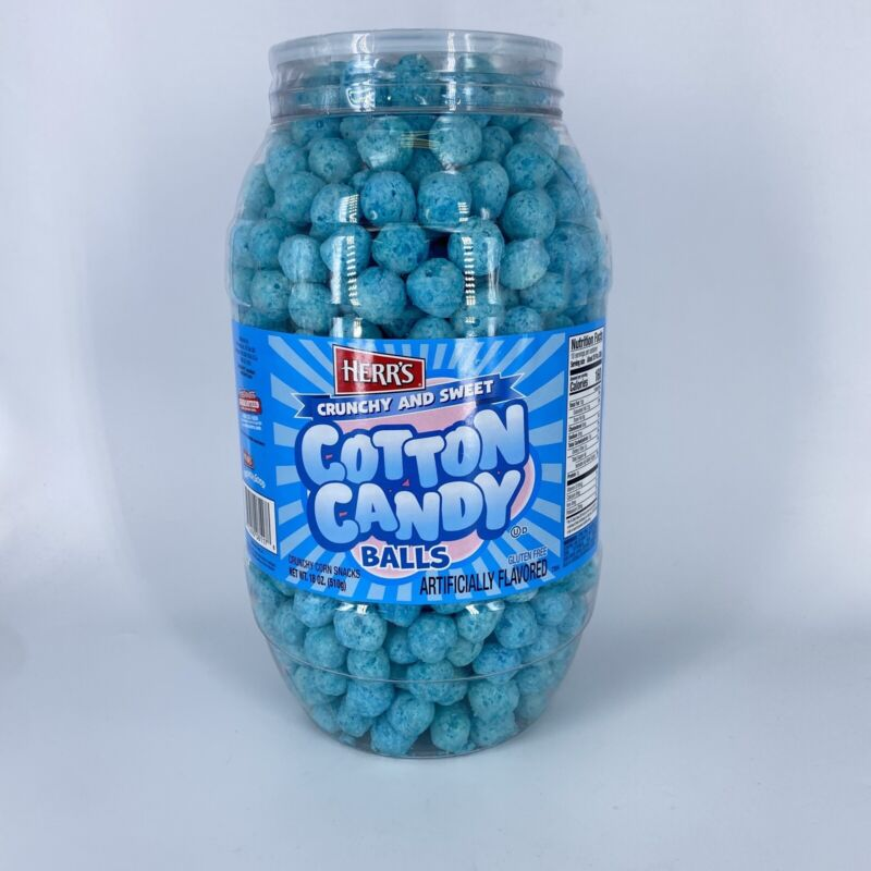 Herr's Crunchy And Sweet Cotton Candy Balls 18 Oz Barrel Tub Party Snack 9/2021