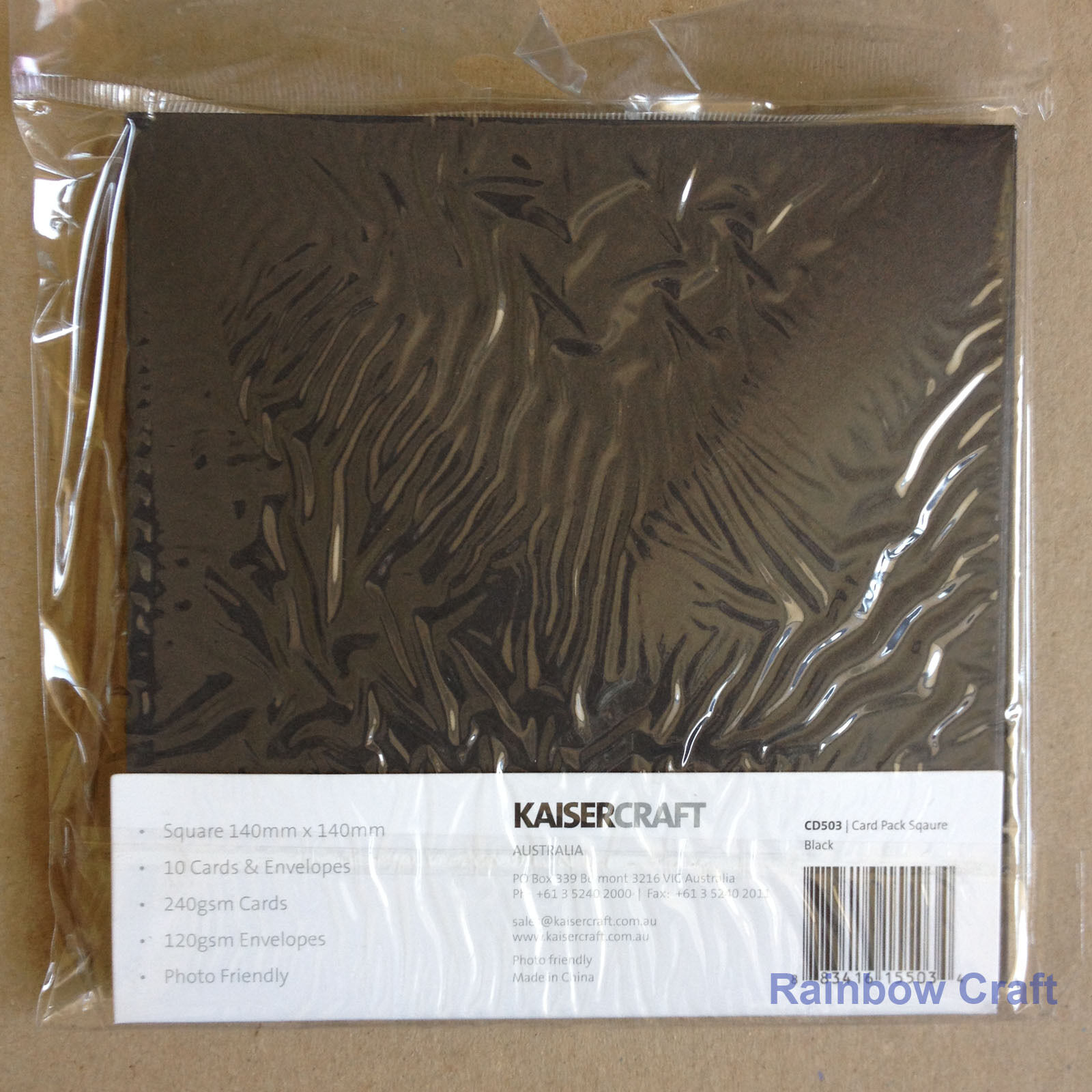Kaisercraft 10 blank Cards & Envelopes Square / C6 size (12 selections) - Black