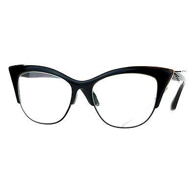 Vintage Retro Fashion Clear Lens Glasses Womens Half Rim Look (Vintage Looking Glasses)