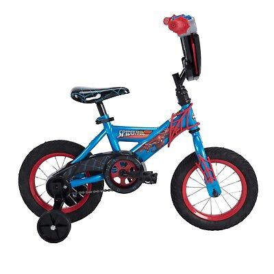"12"" Marvel Spider-Man Boys Kids Starter Bike With Training Wheels Bicycle Huffy"