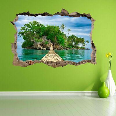 Bamboo Bridge Exotic Paradise Tropical Island Wall Art Sticker Mural Decal BD14 Tropical Island Bamboo