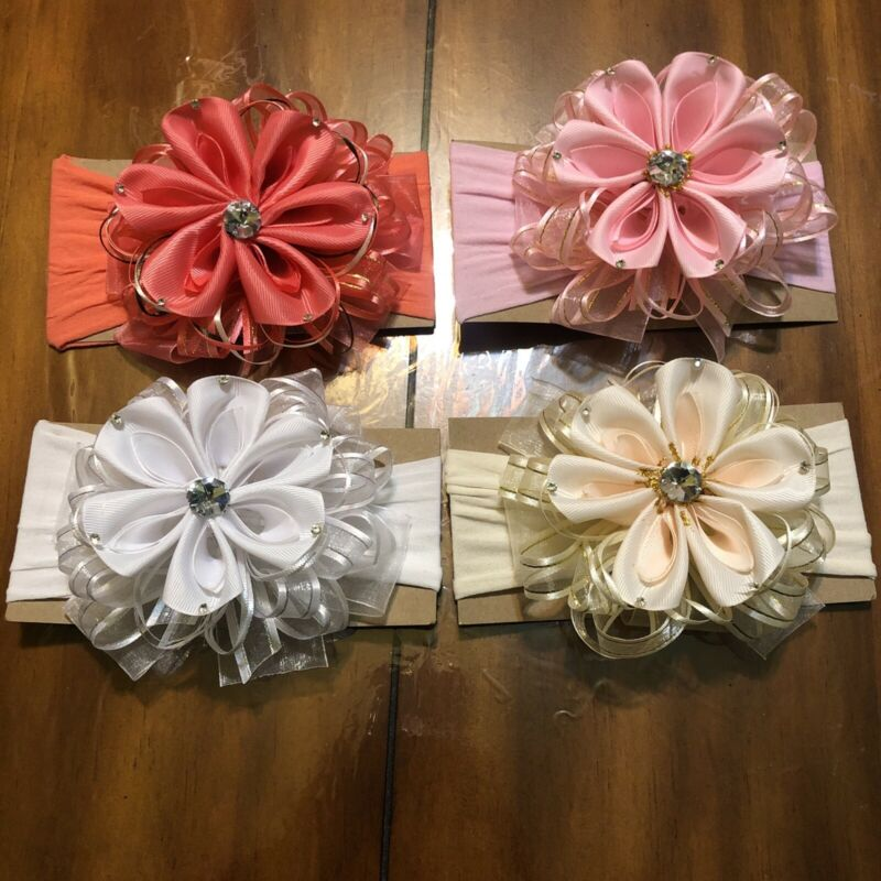 lot Of 4 handmade Lace Head Bands For Babys Girls Party Casual Wear Baby Gifts