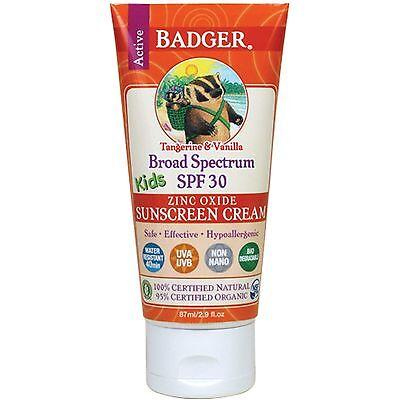 Badger Kids Sunscreen SPF30 Cream - 100% Certified Natural
