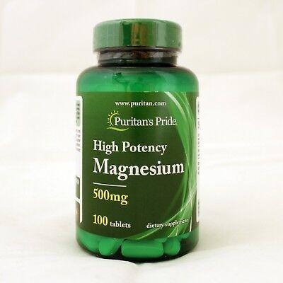 Magnesium Supplement Tablets - Puritan's Pride High Potency Magnesium 500 mg 100 Tablets Dietary Supplement