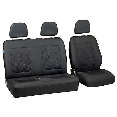 Schwarze Sitz (Intensiv Schwarze Sitzbezüge für RENAULT MASTER Autositzbezug SET 1+2)