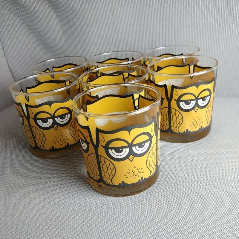 Set of 7 Vintage Mid Century Libbey M Petti Owl Drinking Tumbler Glasses Barware