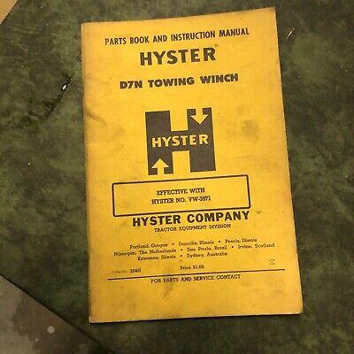 Hyster Winch Parts Catalog Instruction Manual D7 D7n Cat Dozer Nice