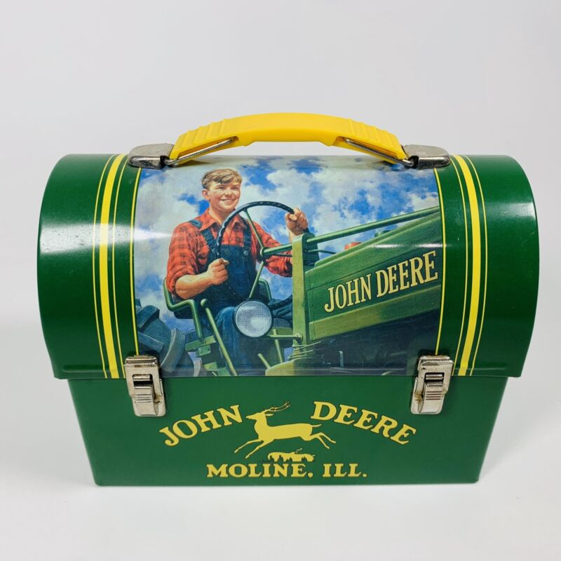 Rare John Deere Minature Lunch Box Collectible Boy On Vintage Deere Tractor