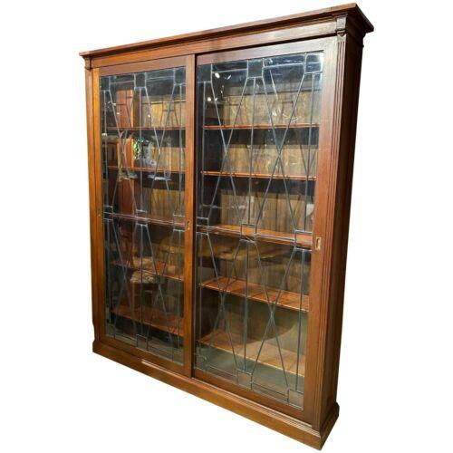 Grand Scale Mahogany Custom Bookcase with Leaded Glass Sliding Doors