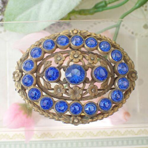 Art Deco Brass Blue Czech Glass Oval Floral Pin Brooch