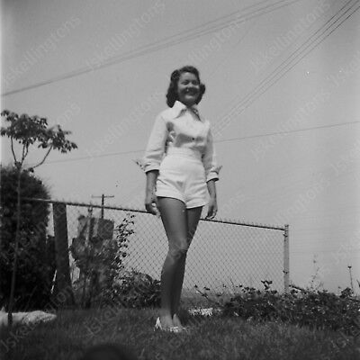 "1950s pretty woman in white shorts   vintage 2"" Negative  Kg2"