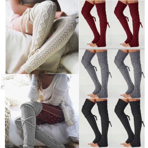 Damen Einfarbig Überknie Lang Stulpen Socken Kniestrümpfe Winter Warmer Socken