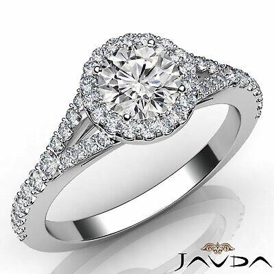 Beautiful Round Diamond Engagement Pave Set Ring GIA H Color SI1 Platinum 1.23Ct