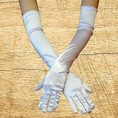 White Opera Gloves (Party Opera Bridal Women Evening Wedding Satin Arm Hand Sleeve Long Gloves)