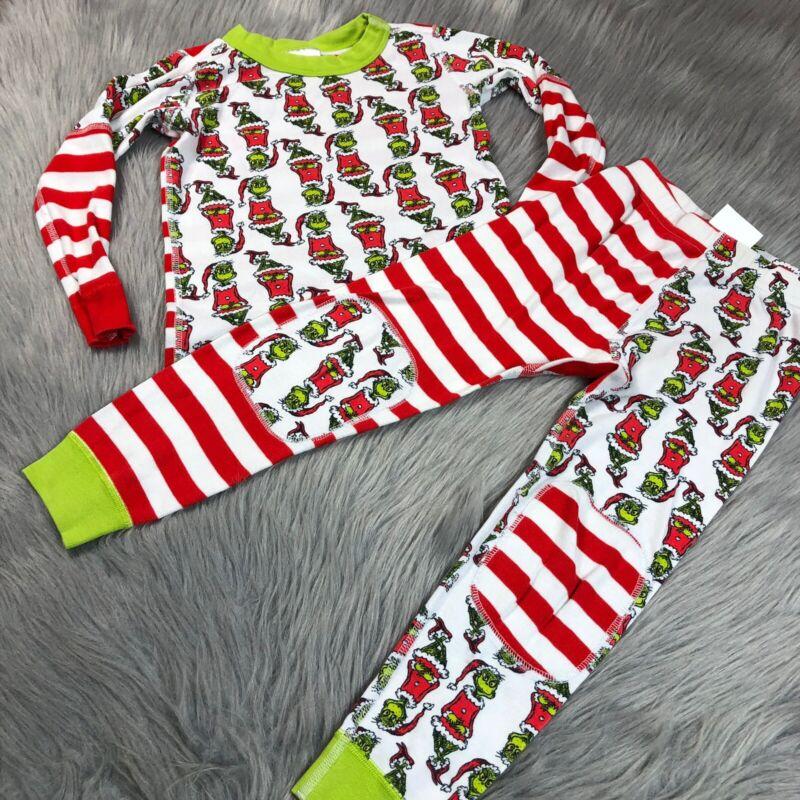 Hanna Andersson Grinch Dr Seuss Striped Christmas Pajama Set 100 US 4