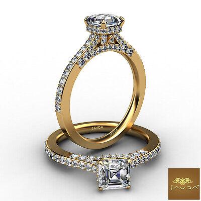 Circa Halo Bridge Accent Pave Asscher Diamond Engagement Ring GIA E VVS2 1.36 Ct