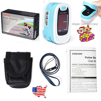 Usa Blood Oxygen Sensorpulse Oximeter With Carrying Case Neck Rope-light Blue