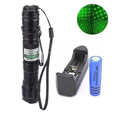 100Miles High Power Green Laser Pointer Military Beam Lazer Pen+Star Cap+Battery