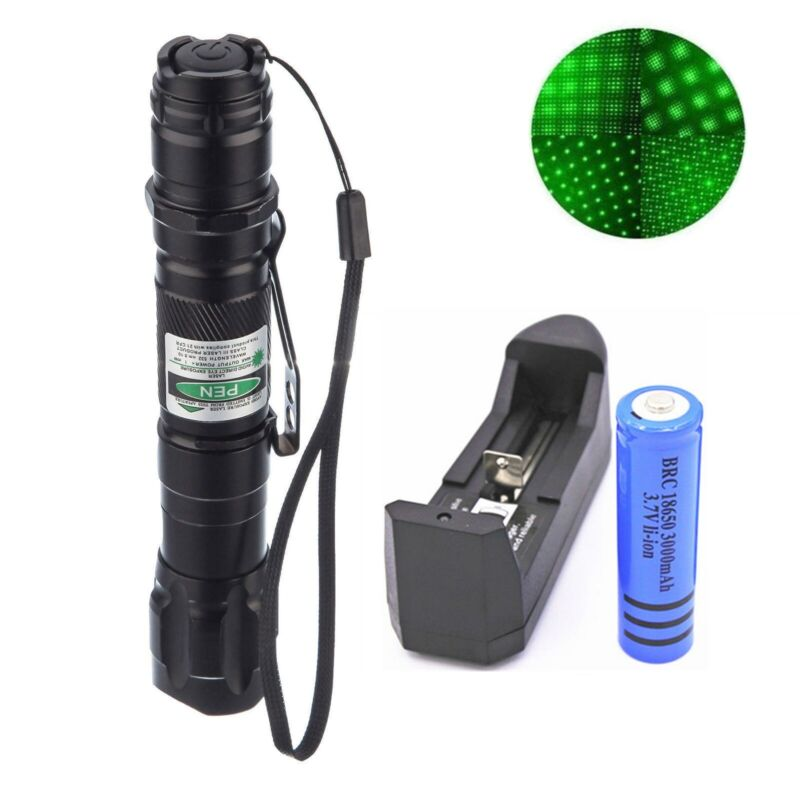 500Miles High Power Green Laser Pointer Military Beam Lazer Pen+Star Cap+Battery