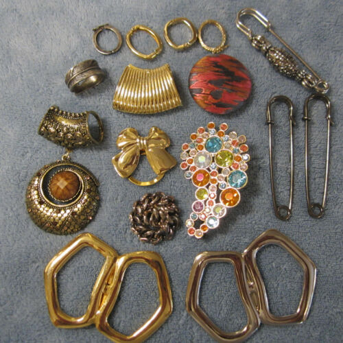 Scarf Clips & Slides Lot of 16 Gold & Silver Tone, Paisley Rhinestone, Silk