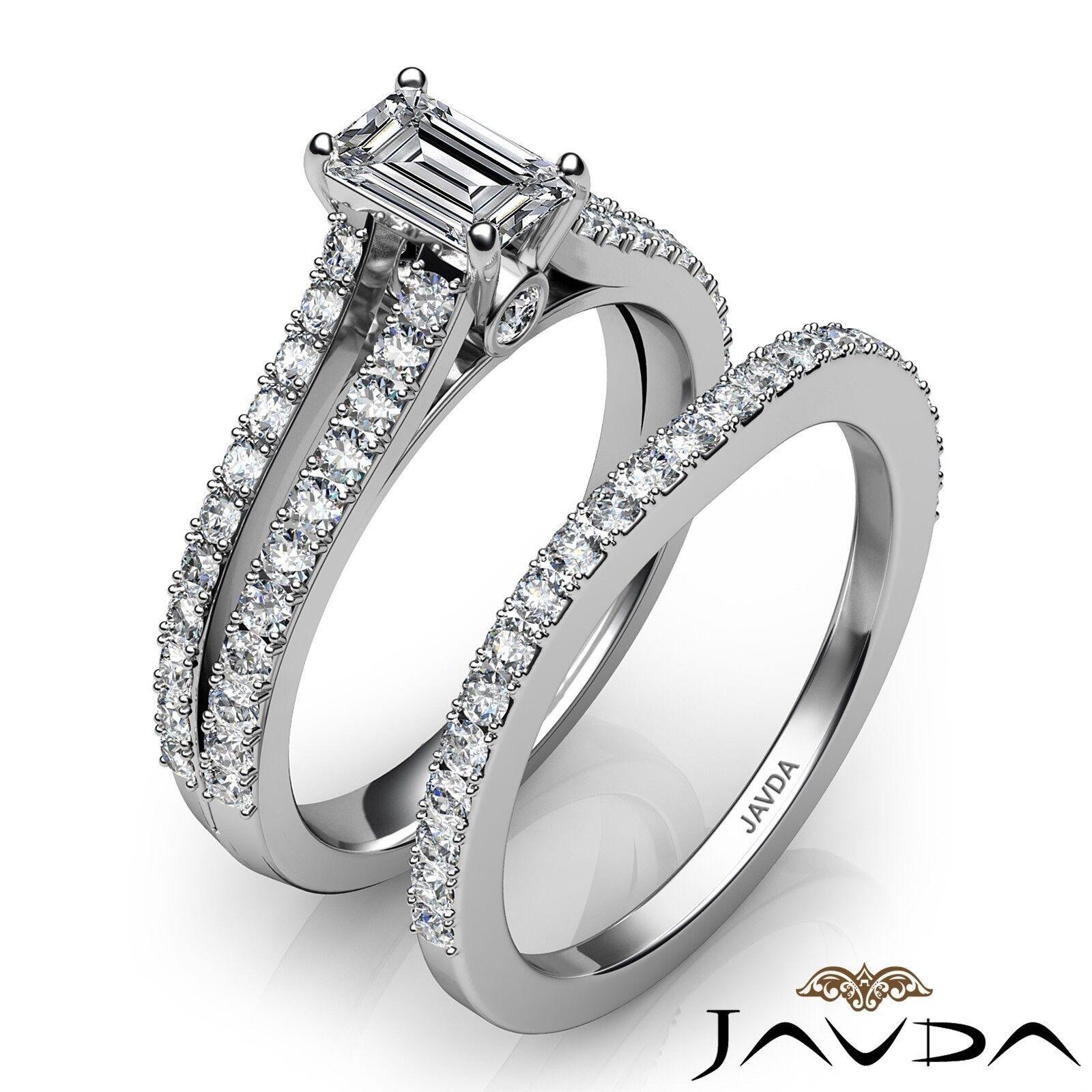 1.51ctw Split Shank Bezel Bridal Set Emerald Diamond Engagement Ring GIA E-VVS1 2