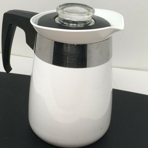 Corning Ware 4 Cup Coffee Pot White Stove-top  Percolator P-224-B