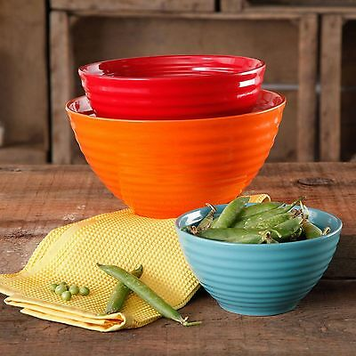 New The Pioneer Woman Flea Market 3-Piece Ceramic Mix Bowls