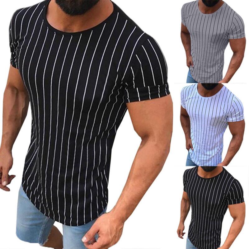 Herren Gestreift T-Shirt Oversize Longshirt Kurzarmshirt Casual V-Neck Shirt Tee