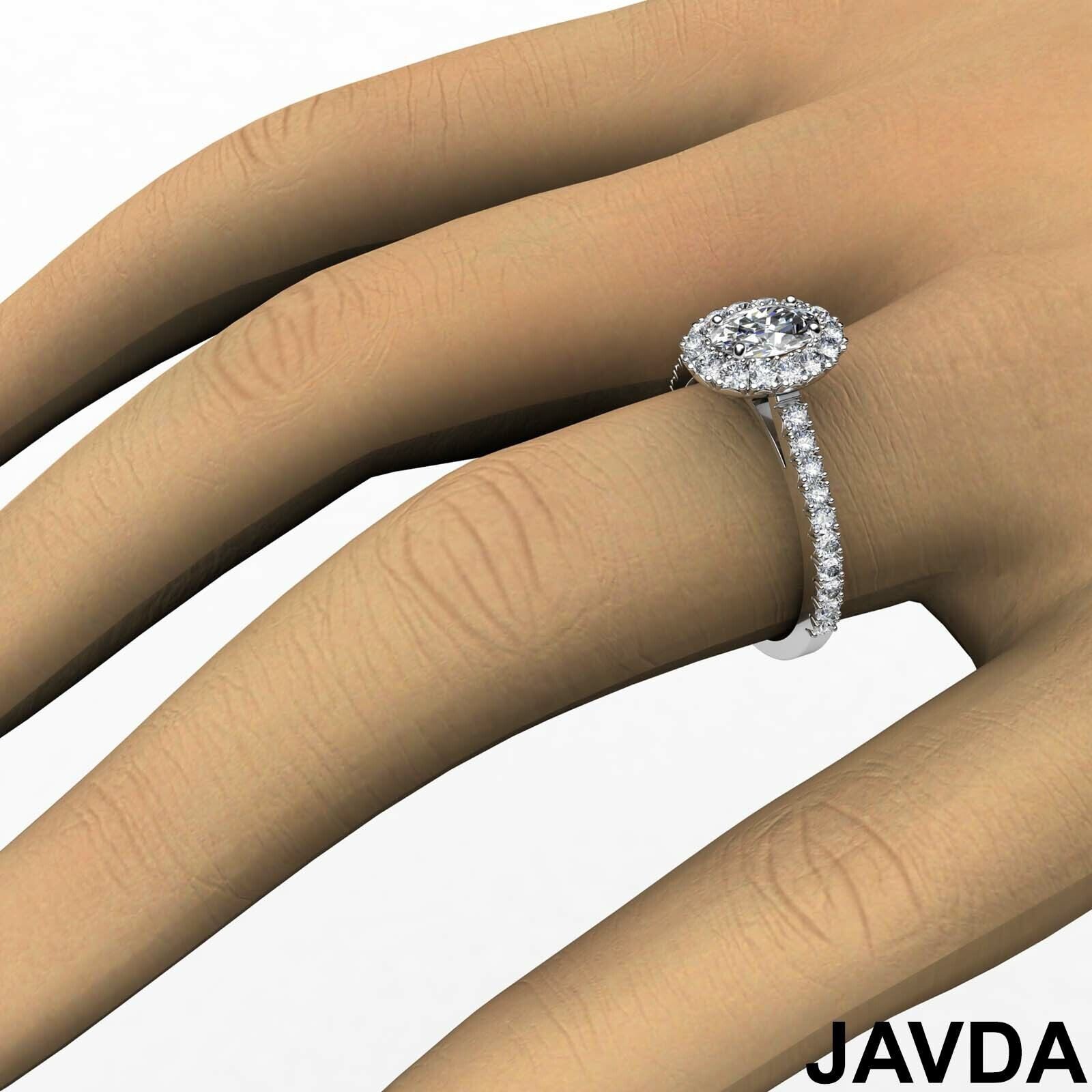 1.5ctw French V Cut Halo Pave Oval Diamond Engagement Ring GIA F-VVS2 White Gold 6
