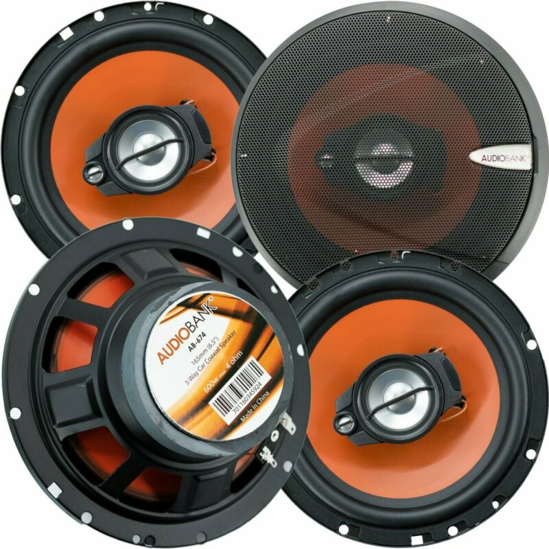 """4) Audiobank 6.5"""" 600 Watt 3-Way Car Audio Stereo Coaxial Speakers with Grill"""
