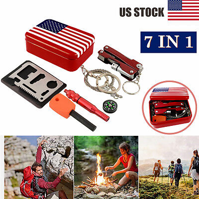 SOS Emergency Gear Pack Outdoor Camping Hiking Hunting Scouts Survival Kit Tools
