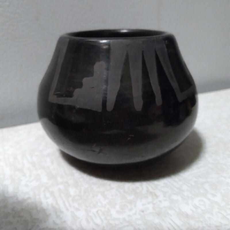 Maria Martinez Santana ~  Black Ware Pottery Jar  ~ Signed  Native American