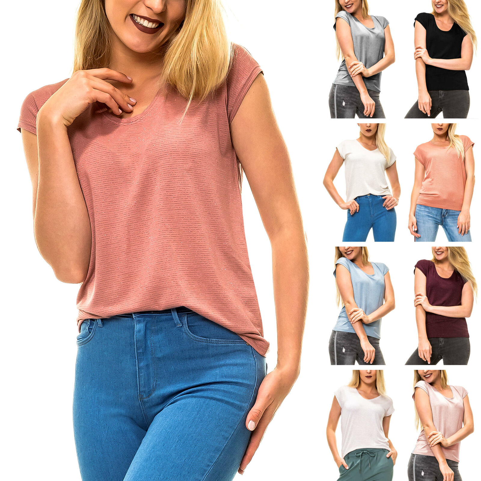 Pieces Damen T-Shirt Shirt Stretch Basic Lurex Damenshirt Top Longshirt SALE