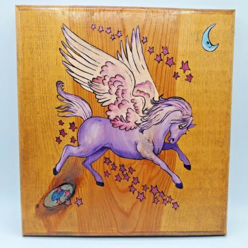 Vintage Pegasus Painting Purple Picture 12X11 on Wood Hand Painted Horse Art