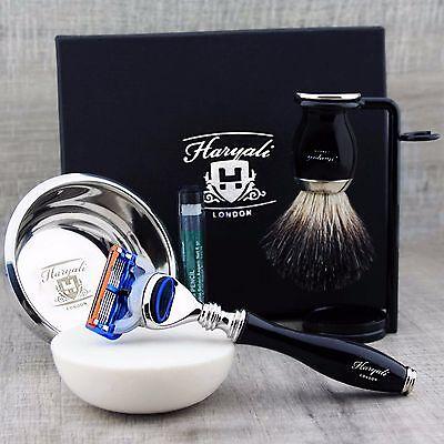 5 Piece Shaving Set | Gillette Fusion & Pure Black Badger Brush | Men's Gift Kit