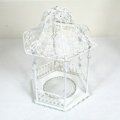 Vtg Dollhouse Miniature VICTORIAN GARDEN GAZEBO Flower Patio Wire Metal Room -