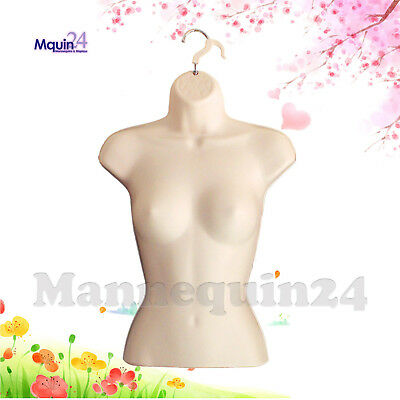 FEMALE TORSO HANGING MANNEQUIN, FLESH PLASTIC DRESS FORM WITH HANGER