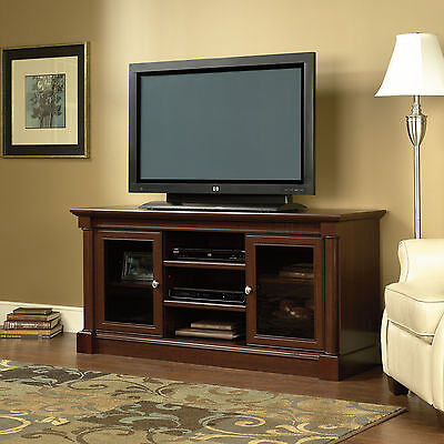 Entertainment TV Stand Credenza Media Center Cabinets Classic Cherry Wood Shelf